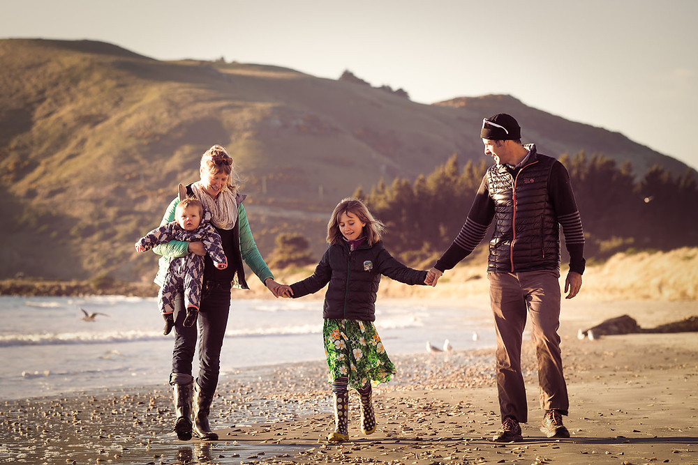 Family photograph at Aramoana Beach, Dunedin