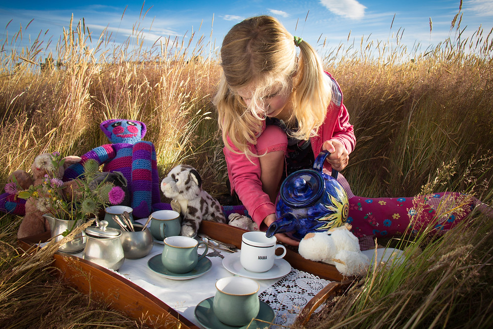 A girl having a tea party with all her soft toys in a field of grass. The winning image of the Dilmah and Canon tea inspired me photography competition.