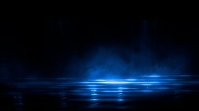 Dark empty scene, blue neon searchlight