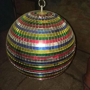 Зеркальный шар разноцветный диаметр 30см.на моторчике(Disco Ball)