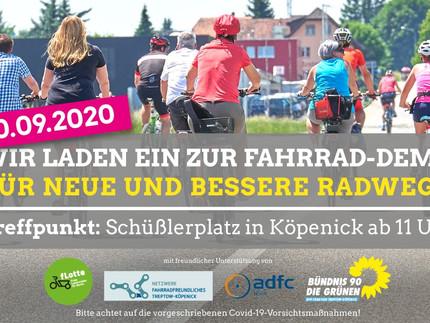 Fahrrad-Demo am Sonntag 20.09. in Köpenick