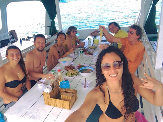 Delicious local lunch on board