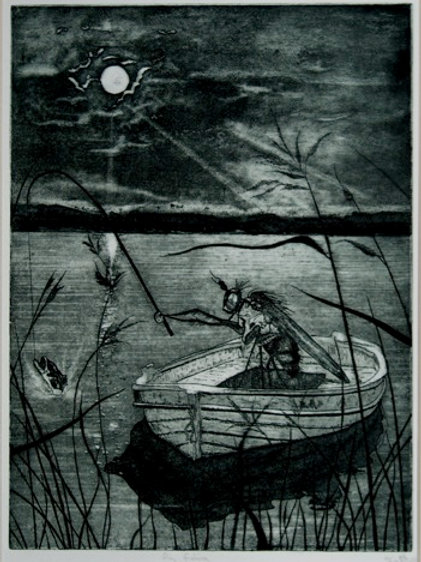Fly Fishing - Etching with Aquatint
