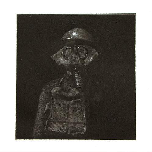 WW1 Gas Mask - Faux Mezzotint