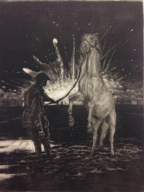 Horse of WW1 - Faux Mezzotint