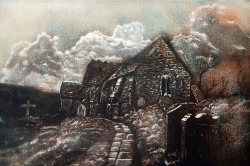 St Martins Church Cwmyoy - Faux Mezzotint