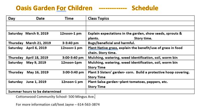 Activities Scheduled at Oasis Garden