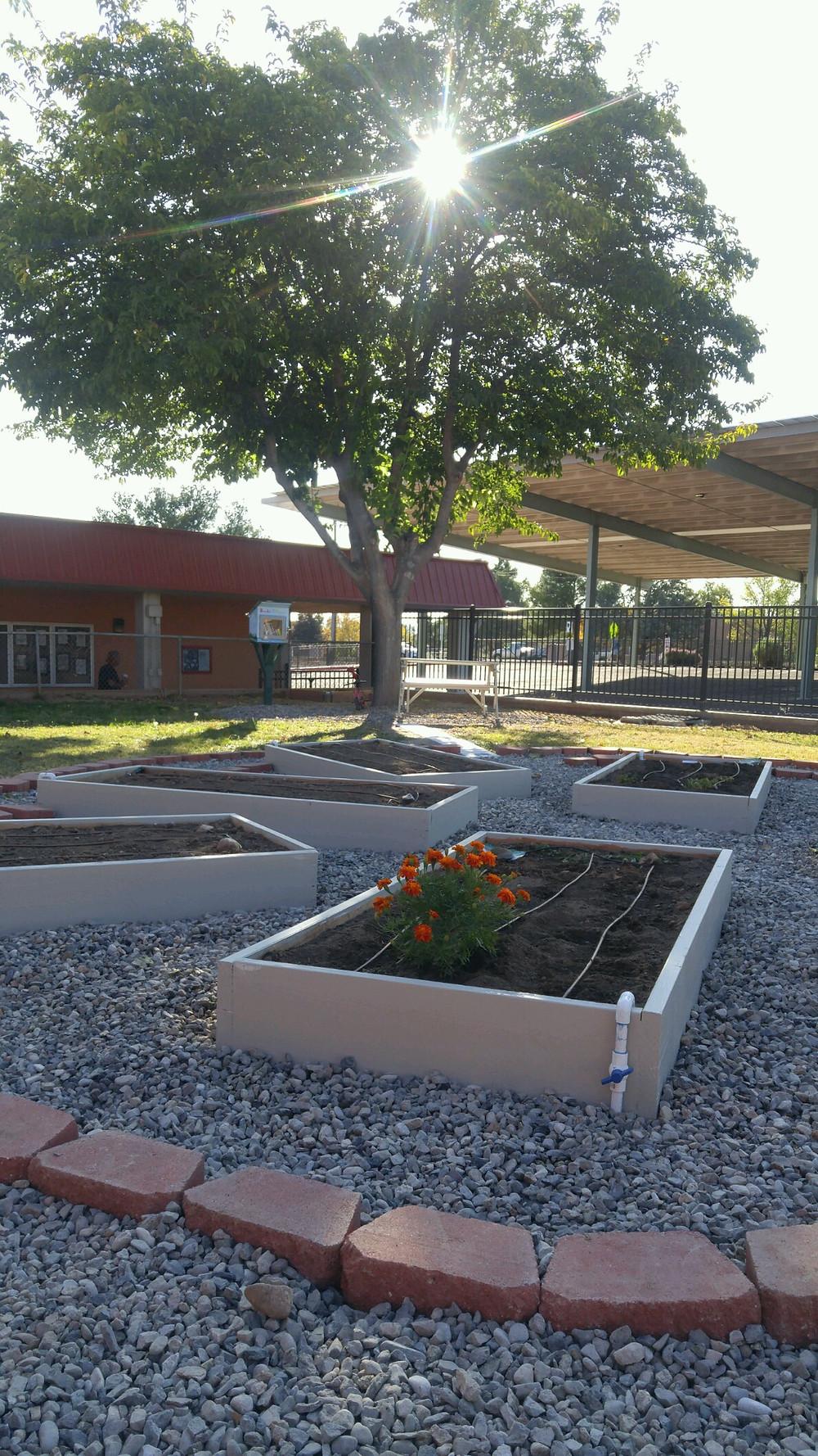 8 garden beds, 5 fruit trees, memorial area, game area
