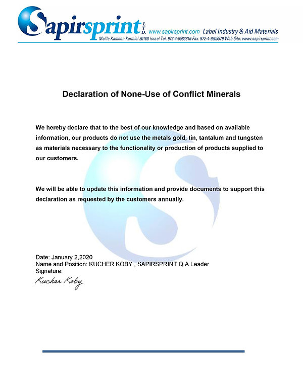 Declaration of Non-Use of Conflict Miner
