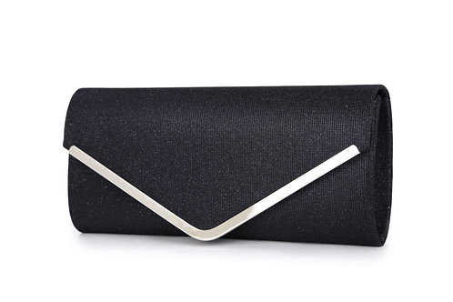 ITEM 1508. Sparkle effect clutch bag with silver front strip.