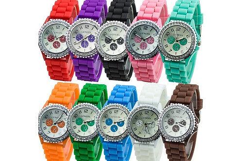 SILW.  Womens Silicon Jel crystal sport watch