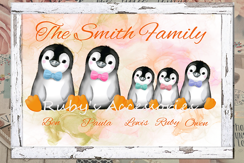 Personalised Penguin Family Gift Print