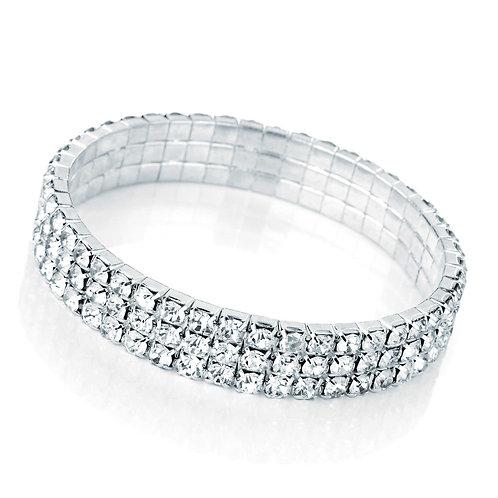 BL25428. Three row silver & crystal effect bracelet.