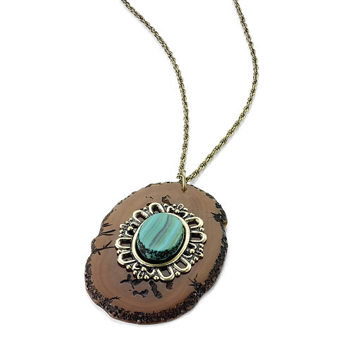 N24534.Turuoise, stone pendant necklace.