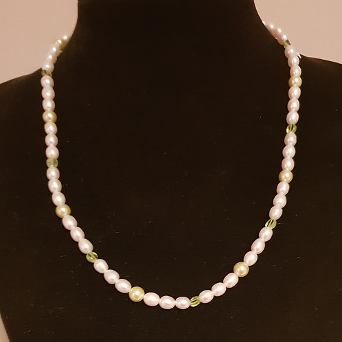Cultured Pearl, Peridot & Shell handmade delicate necklace.