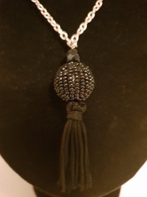 Black Onyx & crystal necklace