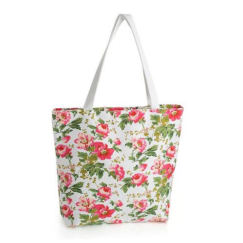 BG31033.  Pink flower canvas bag.