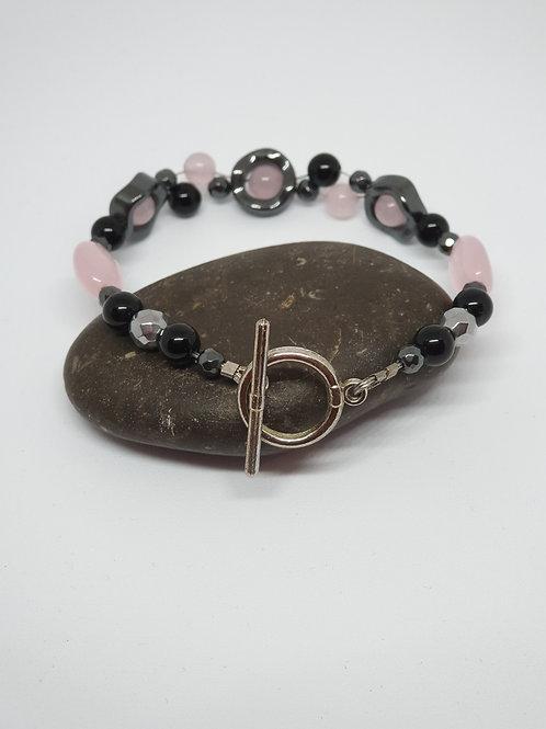 Black Onyx, Rose Quartz & Hematite Handmade bracelet