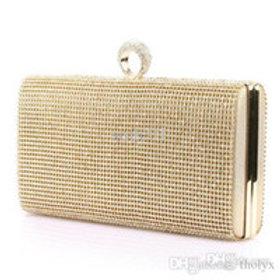 02205.  Silver Glitter Diamante Evening Hard Case Glitz Clutch Bag