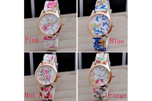 FLOW.  Womens  Silicone Printed Flower Causal Quartz Wrist Watch