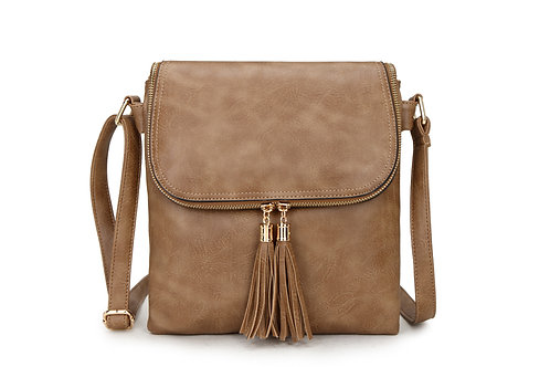 16631.  Tassle detailed cross body bag with Flap over studded fastening