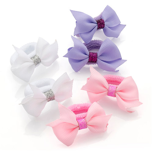 HA30179.  Three pairs pastel glitter bow hair ponio set.