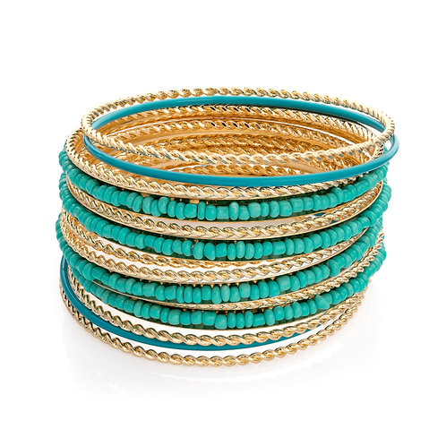 BA30458.  Gold andTurquoise bangle.