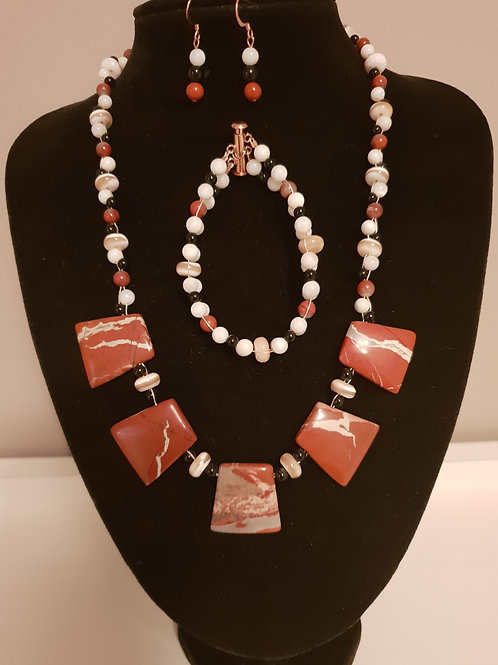 Red Jade, Marbled & Black Onyx necklace, bracelet and earrings set