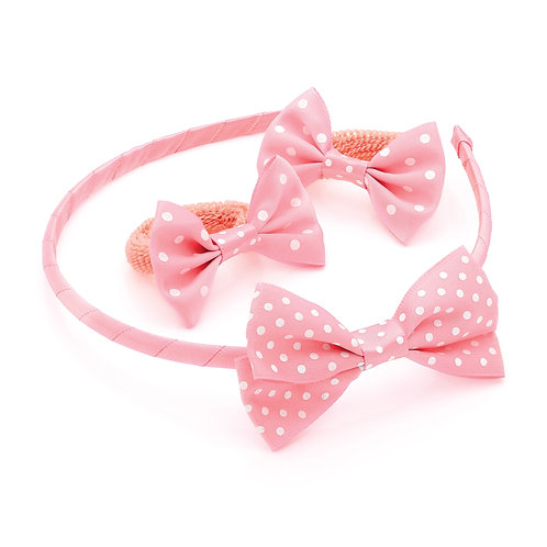 HA28868.  Three piece peach and white polka dot print bow headband and ponio set