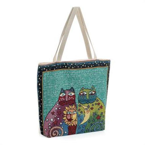BG31291.  Cat print beach/canvas bag.