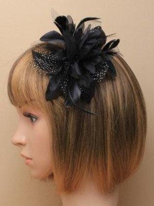 7908.  Large Black flower and net fascinator