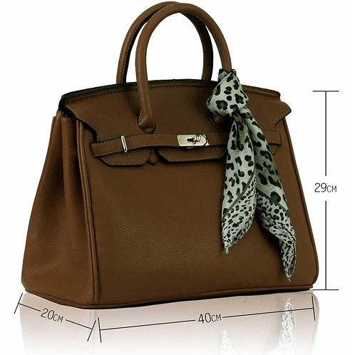 LS0065. L uxury Coffee Tote Bag With Scarf