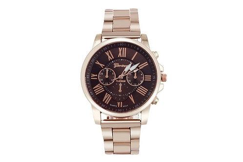 GENOVA.  Men Fashion Luxury Waterproof Stainless Steel Rose Colour Band Watch