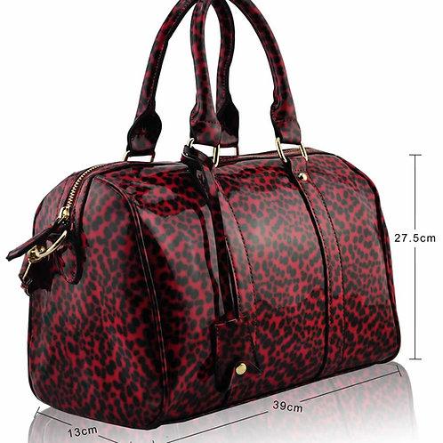 LS7008.  Patent Animal Print Bowling Handbag
