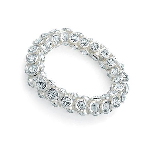 BL30393.  Silver and crystal elasticated bracelet.