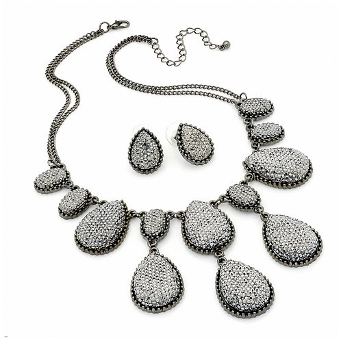 N29770 - Hematite bead necklace and earring set