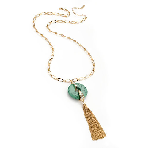 N30101.  Turquoise crystal effect necklace.