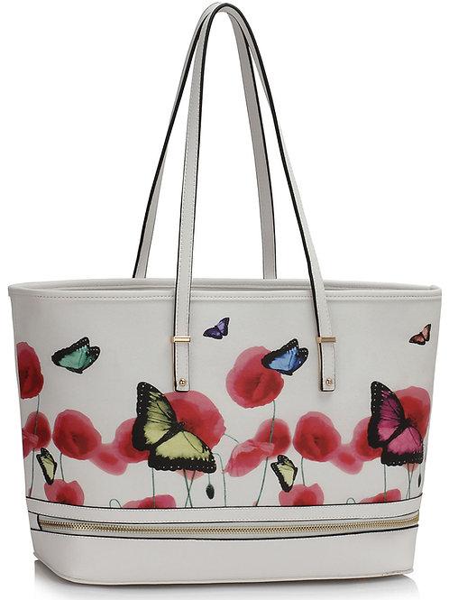 LS00460.  Zip Detail Butterfly Print Tote Bag