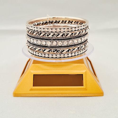 Vintage style Diamontie, block & twist  silver plated 5 piece Bangle set