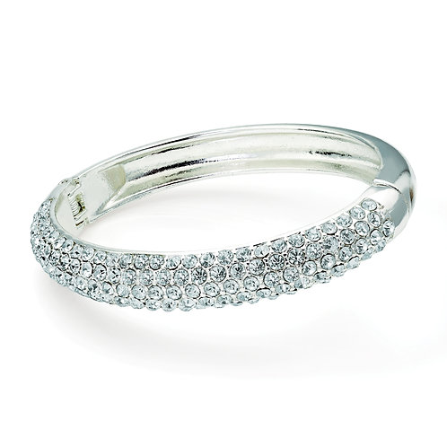 BL29561.  Shiny silver colour crystal hinge bangle