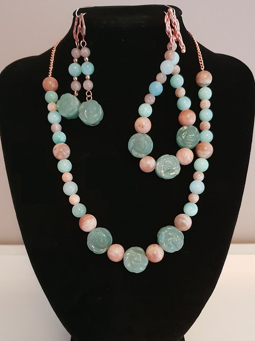 Aventurine & Onyx green polished gemstone necklace, bracelet & earring set