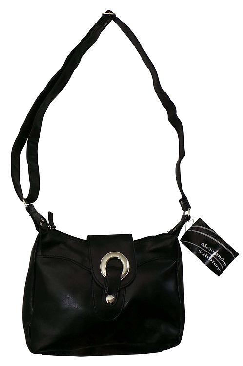 SKU19706WC.  Branded Ladies Alessandro Salvatore Black Silver Ring Shoulder Bag.