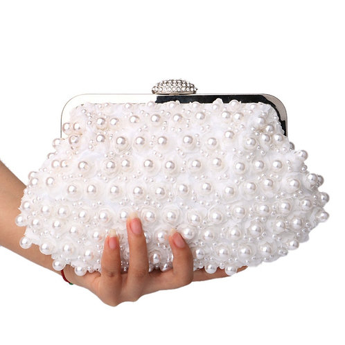 369.  Pearl flower design Clutch bag.  Full Handcrafted Luxury Pearls.