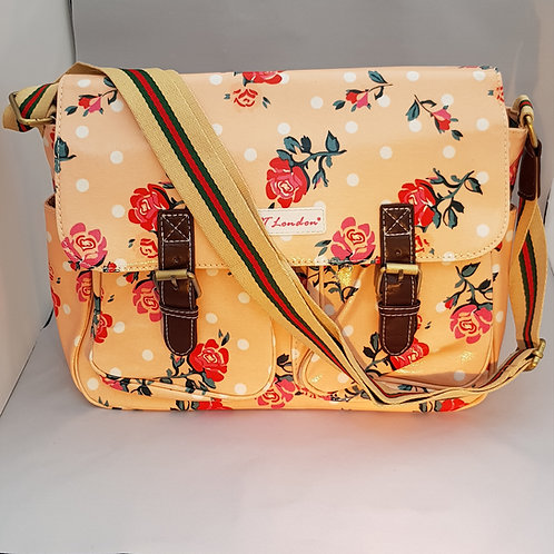 HT21812.  Flowerpolka dot design oil cloth satchel
