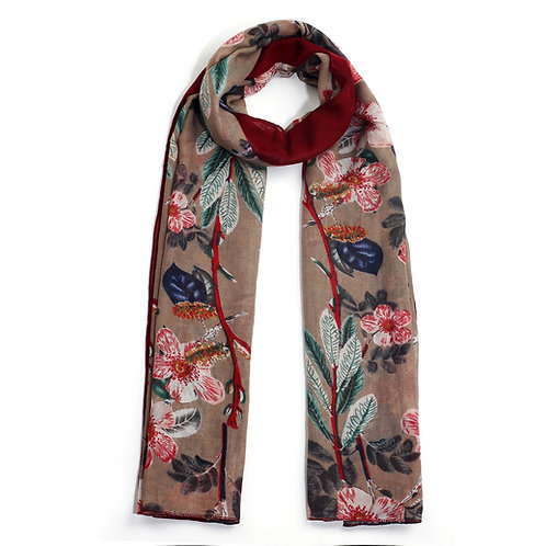 Floral Print Multi Color Women's Scarf