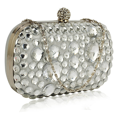 LSE00210.  Sparkly Crystal Satin Clutch purse.