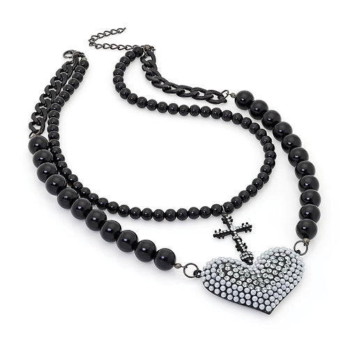 N29685.  Black enamel cross and heart necklace.