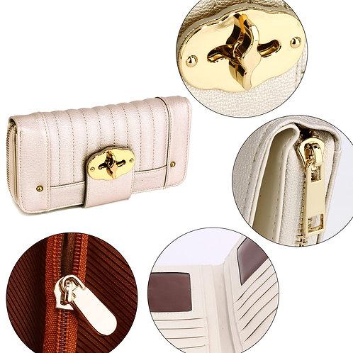 Ivory Zip Round Twist Lock Purse/Wallet