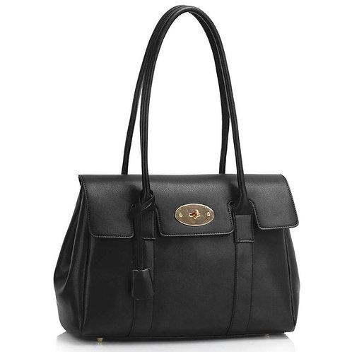 LS00457.  Luxury Black Satchel Grab Shoulder Handbag