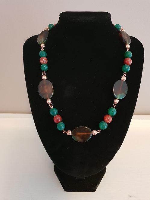 Agate & Jasper red stripe gemstone necklace